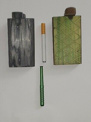 "SET OF 2  4"" Wooden Tobacco Dugout Box   and free (2)   3"" Metal Pipe One Hitter"