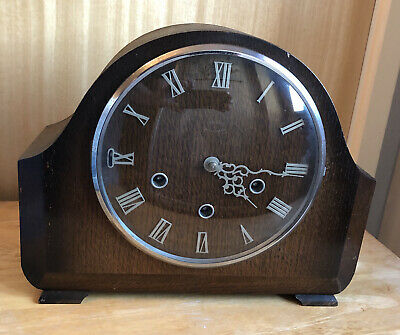 Smiths Langley 8 Day Rich Walnut Westminster Mantle Mantel Chime Clock