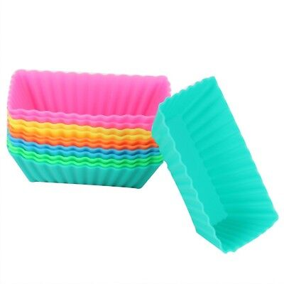6X Silicone Muffin Case Rectangle Cake Liner Cupcake Chocolate Baking Cups BUX