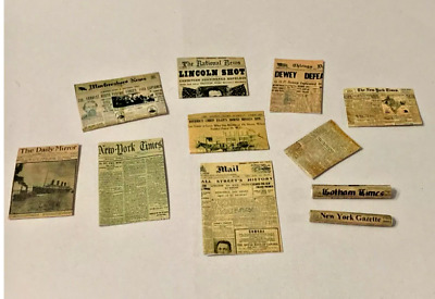 SET OF 10 NEWSPAPERS  FOR A 1//12 SCALE  DOLLS HOUSE
