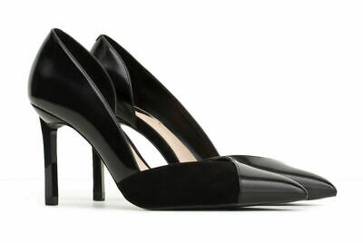 WOMENS OFFICE MILLIONTH Asymmetric Mules Black Leather Heels