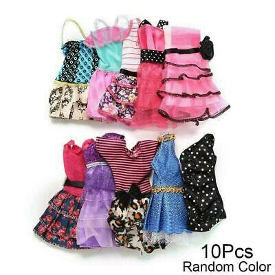10 Pcs Dresses For Doll Fashion Party Girl Dresses Gift Clothes Gown Toy O0M4