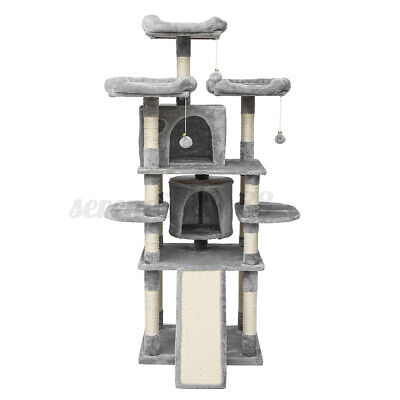 67'' Cat Tree Tower Condo Furniture Scratching Kitty Pet Play Fun House Grey US
