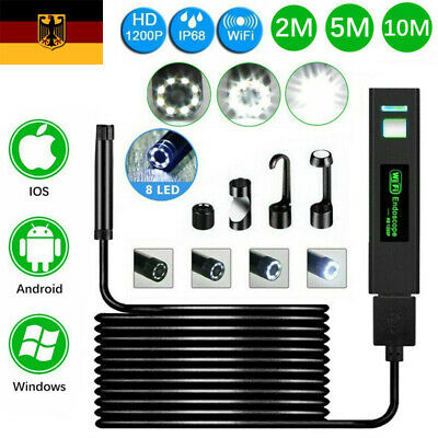 1-10 M WiFi Endoskop USB Endoscope Inspektion Kamera 8 LED für iPhone Android