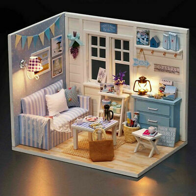 DIY Handcraft Miniature Project Wooden Dolls House With Cover Kids Toys Gifts UK