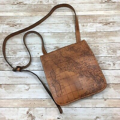 Patricia Nash Signature Map Collection Crossbody Leather Bag