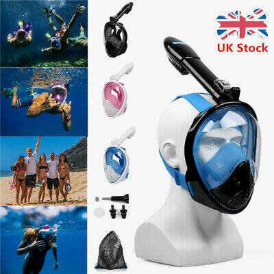 Full Face Mask 180°Swimming Dry Diving Breathing Snorkel Scuba For GoPro  Adult