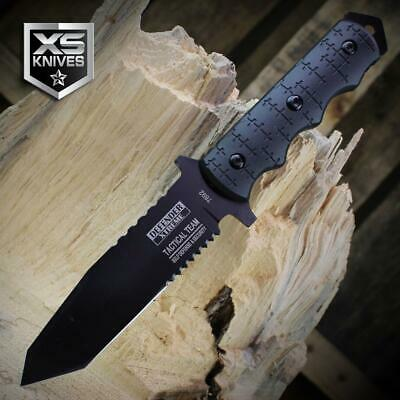 Black TACTICAL Combat MILITARY Survival BOWIE Fixed Blade FULL TANG Tanto Knife