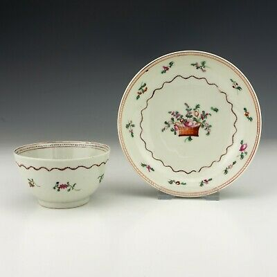 Antique New Hall Porcelain - Hand Painted Flower Decorated Tea Bowl And Saucer