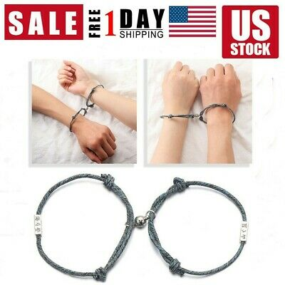 2Pcs Friendship Rope Braided Distance Magnetic Couple Bracelet Kit Lover Jewelry