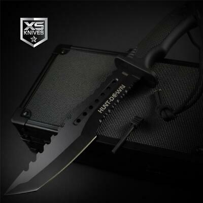 Tactical BLACK Combat TANTO Survival FIRE STARTER Hunting Fixed Blade Knife 12""
