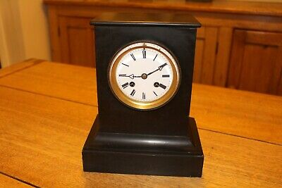 Antique Black Slate Mantle Clock Movement Made By Brocot Of Paris - Height 10""