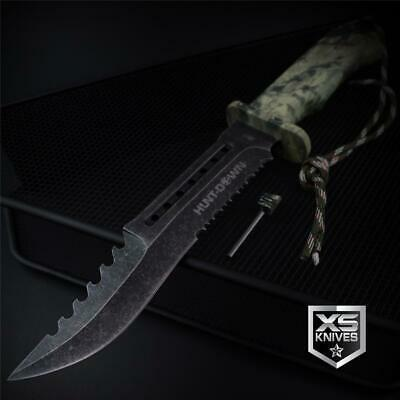 STONEWASHED Tactical Combat CAMO Bowie Survival Fixed Blade HUNTING Knife 12""