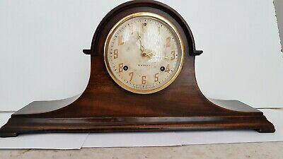New Haven Clock Co. Napoleans Hat Chiming Wooden Mantel Clock with Key