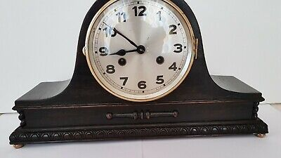 Black Wood German Napoleans Hat Chiming Mantel Clock with Key, Working