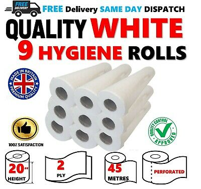 "9 Rolls PREMIUM Quality WHITE 20"" Hygiene Beauty Salon GP Massage Couch Medical"