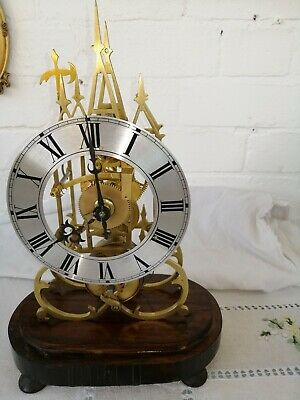 Vintage, Brass Frame Skeleton Clock, Fusee Movement. For Restoration.