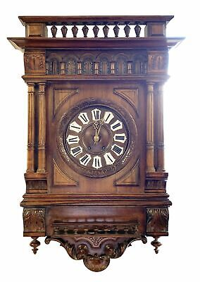 A Large Working French Walnut Wall Clock of Architectural Form