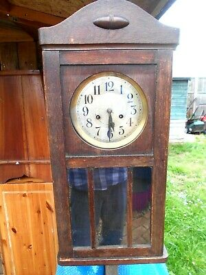 vintage wooden case wall clock, no pendulum, spares repair