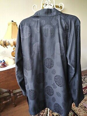 Authentic Silk Black Embossed Oriental Jacket Sz 8 Mint. New No Tag