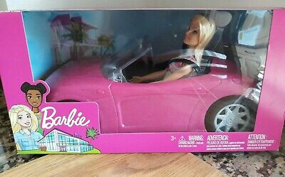 Mattel Barbie Convertible Car And Barbie Doll Playset New & Sealed Glitter Pink