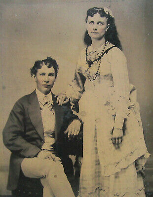 Antique Tintype Photograph Young Couple Posing Tinted Cheeks Beads Plaid Dress