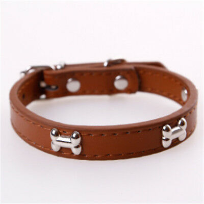Pet/Dog/Cat Faux Leather Style Collar with Bone Shaped Studs Adjustable RF