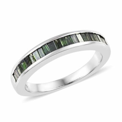 Green Diamond 9ct White Gold Half Eternity Ring for Women Size L, 0.5 Ct TJC