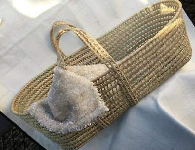 Baby Moses Basket Sleeping Resting Palm Leaf Handmade with Mattress