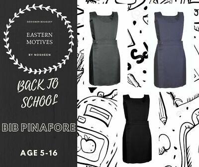 Girls Pleated Bib Pinafore  School Uniform Dress New Black Grey Navy Ages 5-16