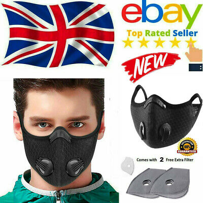 Face Mask Reusable Washable Anti Pollution Pm2 5 Two Air Vent With Filter Uk 1 98 Picclick Uk