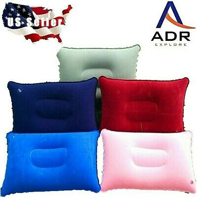 Inflatable camping pillow backpacking, travel, R/V, airplane ultra lightweight.