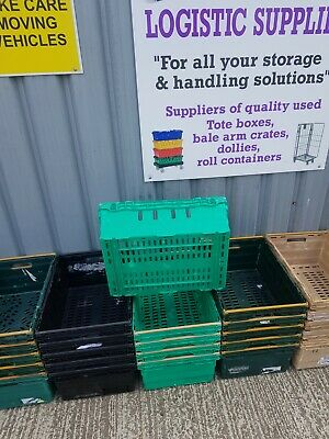 100 X Extra Deep Bail Arm Crates Plastic Stacking Warehouse Boxes 60 x 40 x 30cm