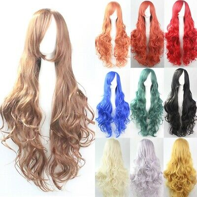 80CM Hot Women Long Wavy Curly Wigs Cosplay Costume Party Hair Anime Full Wig UK