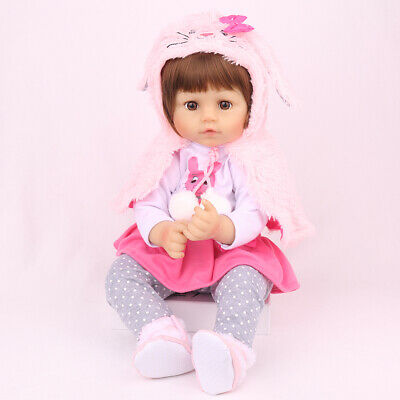 "16"" Reborn Baby Dolls Lifelike Newborn Girls Toddler Silicone Vinyl Xmas Doll"