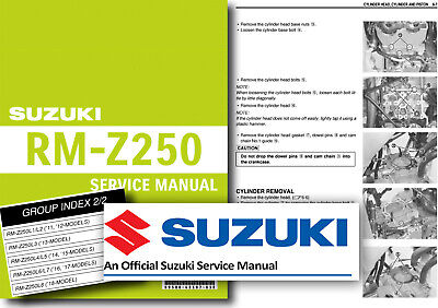 Suzuki Rm Z250 Service Manual Workshop L5 2015 Rmz250 Shop 7 75 Picclick Uk