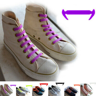 12pcs Easy No Tie Shoelaces Elastic Silicone Lazy Shoe Lace Strings Kids/ Adults