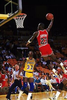 "👍👍 JORDAN DUNKING ON MAGIC  53011 24"" x 36""  Michael Jordan == Magic Johnson"