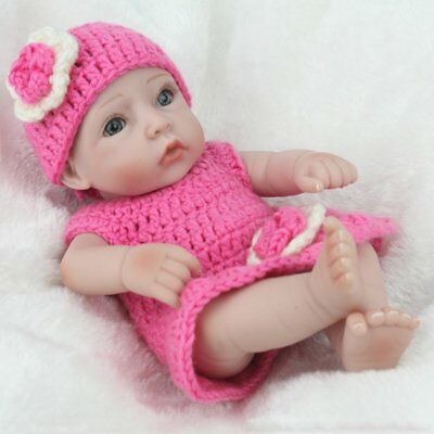 "Handmade Realistic Newborn Dolls 10"" Birthday Full Vinyl Silicone Baby Girl Doll"