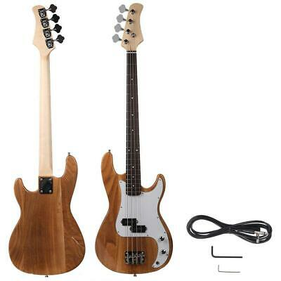 Natural Wood Color Beginner Band 4 Strings Burning Fire Electric Bass Guitar