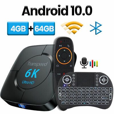 TV Box 6K 3D Wifi Google Voice Assistant Android 10.0 transpeed Play Store Fast