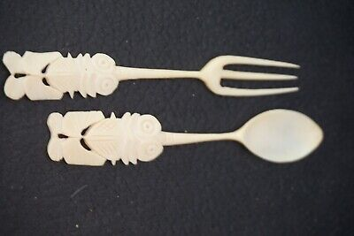 Carved Bone Spoon Fork Tribal 4 5 Bovine Carving Hand Carved 20th Century 10 00 Picclick