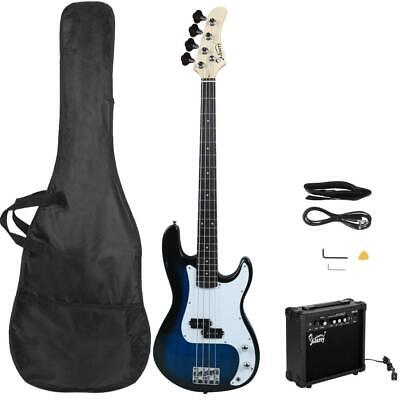 New GP Glarry Electric Bass Guitar Bass w/ 20W AMP Blue