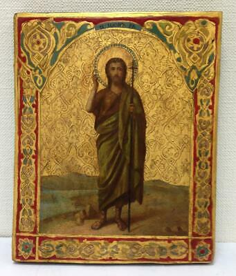ORIGINAL LARGE 19th Century ANTIQUE RUSSIAN ICON SAINTS HAND PAINTED