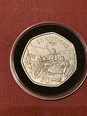 1988 Isle Of Man Christmas 50p Fifty Pence Coin MOTORCYCLE SIDECAR Circulated N3