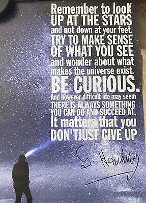 Stephen Hawking Be Curious Quote Stars Solar System 24x36 Poster Free Shipping!!