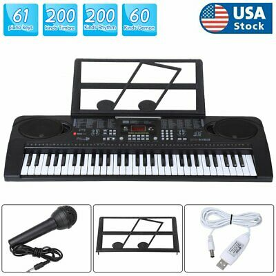 Digital Piano Keyboard 61 Key - Portable Electronic Instrument with Music Stand
