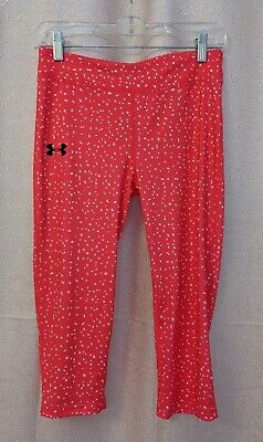 Girls Under Armour Pink and White Fitted Capri Leggings - Size Youth Large