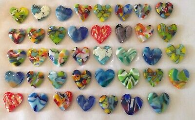 Fused Glass Pocket Flowers Multi-color Heart Cabochon Worry Stone Ornament Bullseye COE 90