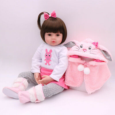 16'' Reborn Baby Girl Dolls Newborn Silicone Vinyl Toddler Handmade Gifts Doll